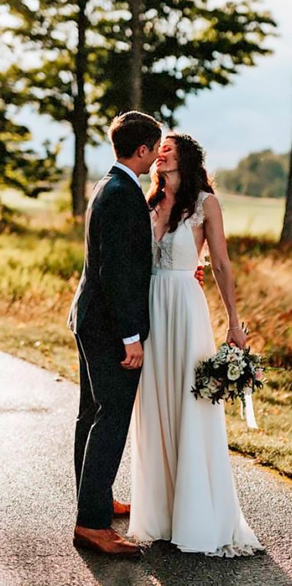 lace v neckline country wedding dresses with cap sleeves laura rowe