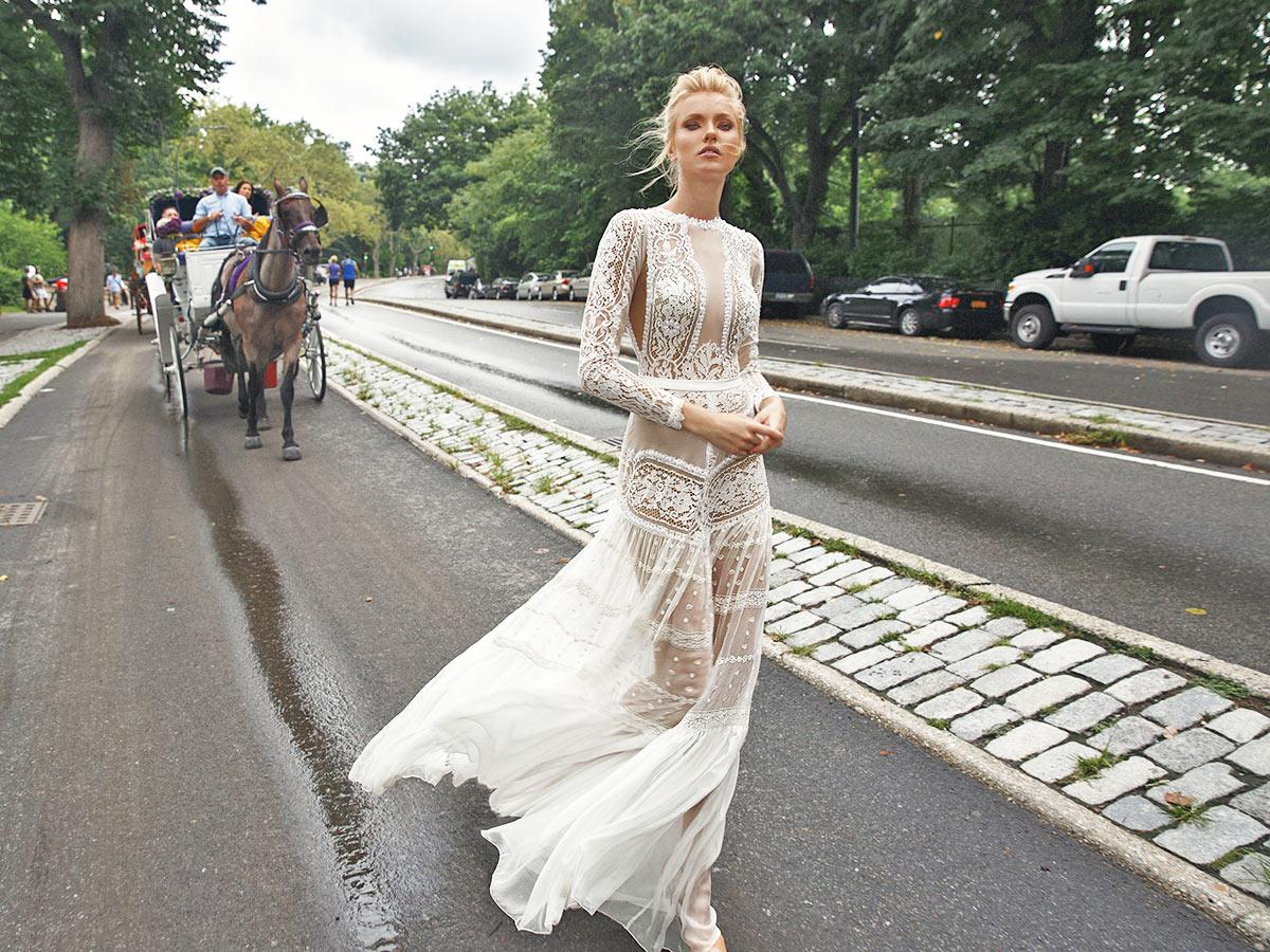 lace with jewelry neckline and long sleeves lior charchy wedding dresses