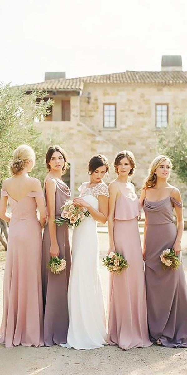 long off the shoulder spaghetti straps dusty lavender bridesmaid dresses jenny yoo