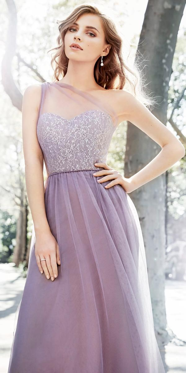 long one shoulder sweetheart beaded bodice lavender bridesmaid dresses hayley paige