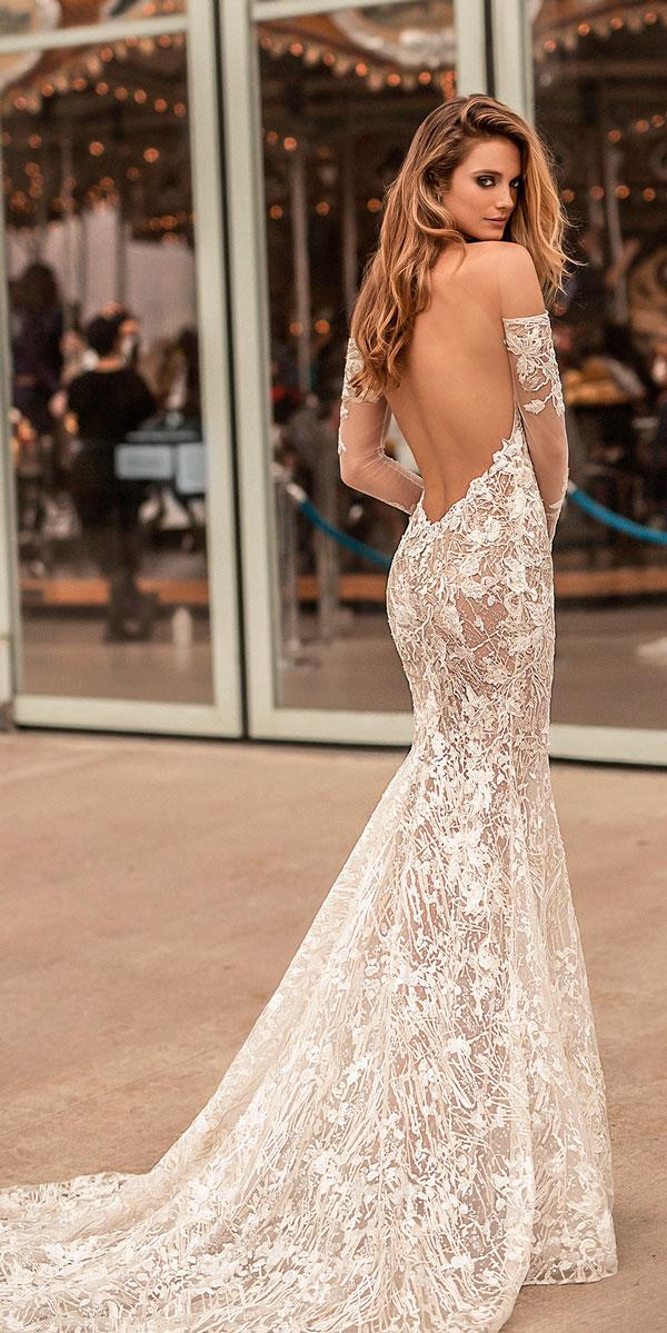 long sleeves sweetheart neck low open back off the shoulder wedding dresses berta bridal