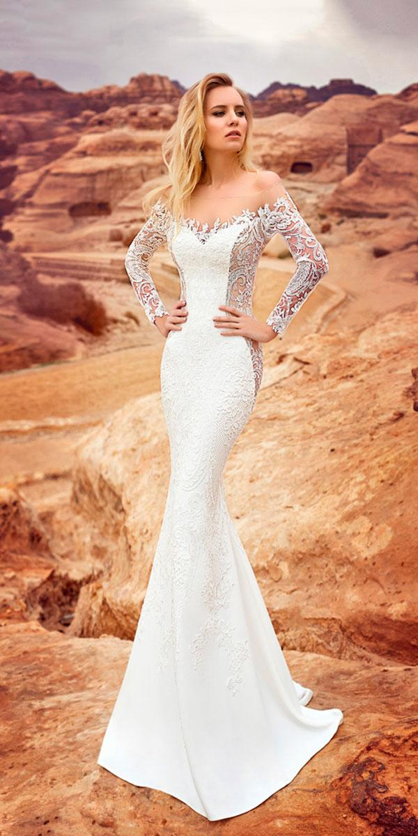 mermaid lace with long sleeves off the shoulder wedding dresses oksana mukha