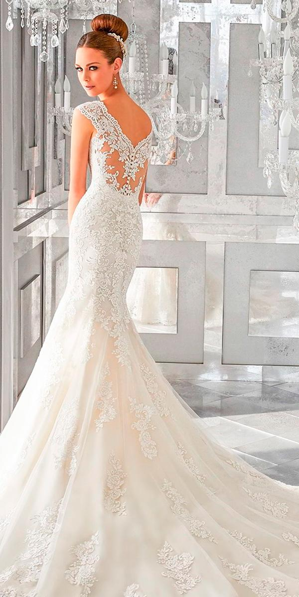 mermaid sleeveless thick strap v neck full embellishment backless wedding dresses morilee
