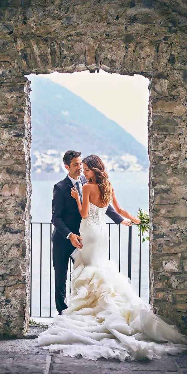 mermaid strapless destination wedding dresses lazaro
