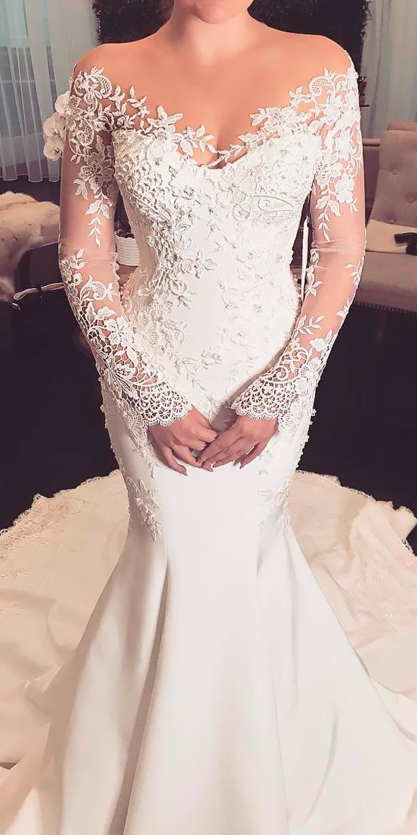 mermaid with sleeves lace off the shoulder wedding dresses leah de gloria