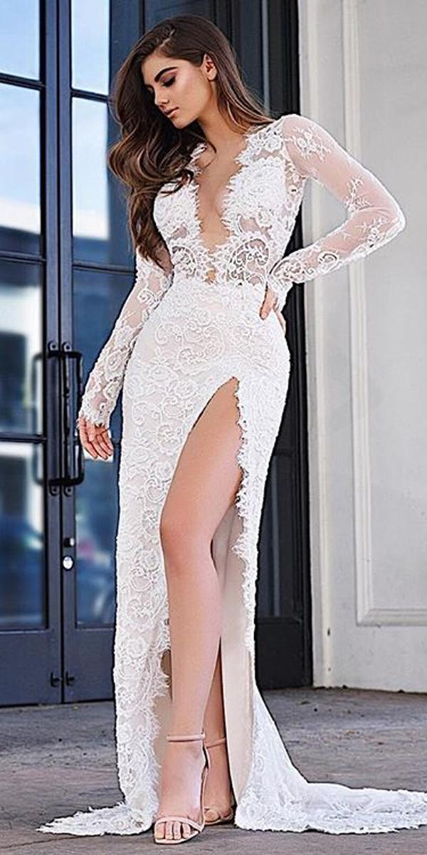 modern lace long sleeve deep plunging v neck high slit sheath wedding dresses ryanandwalter