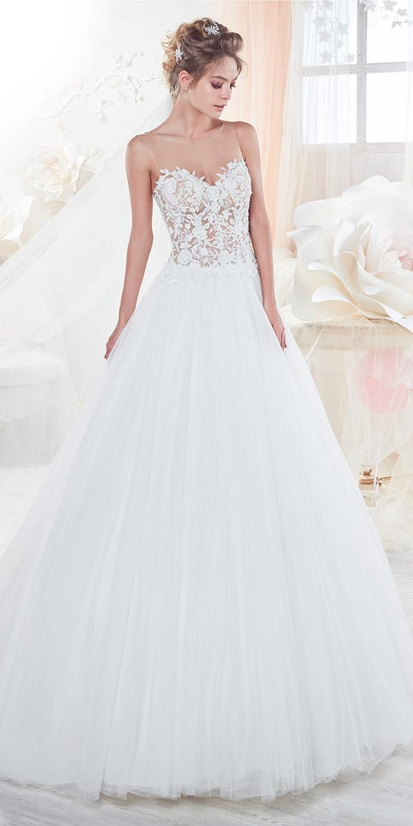 nicole spose wedding dresses a line floral top tulle skirt 2018