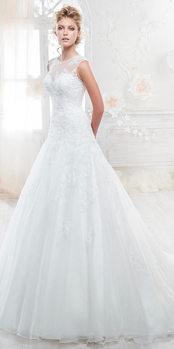 nicole spose wedding dresses a line illusion sweetheart sleeveless lace embellishment