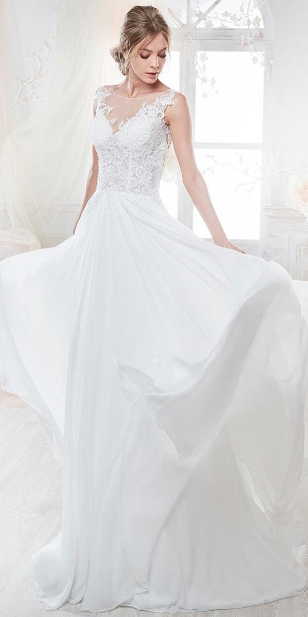 nicole spose wedding dresses a line satin skirt lace top sleeveless