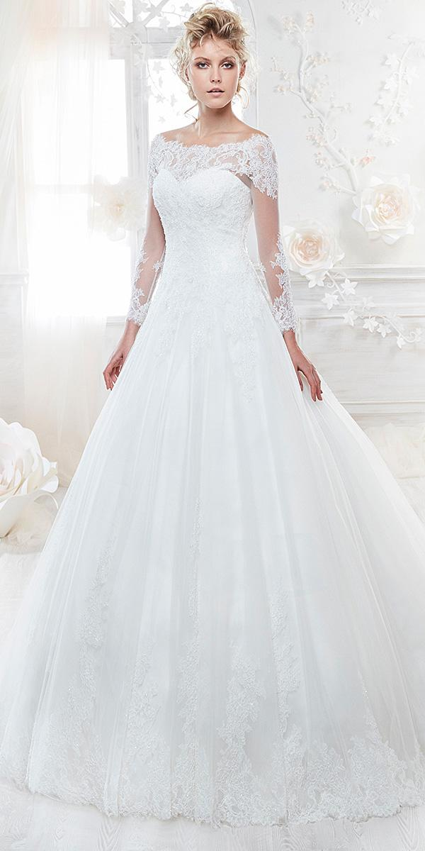 nicole spose wedding dresses a line sweetheart with lace sleeves 2018