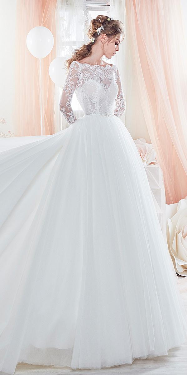 nicole spose wedding dresses a line with long sleeves tulle lace skirt 2018