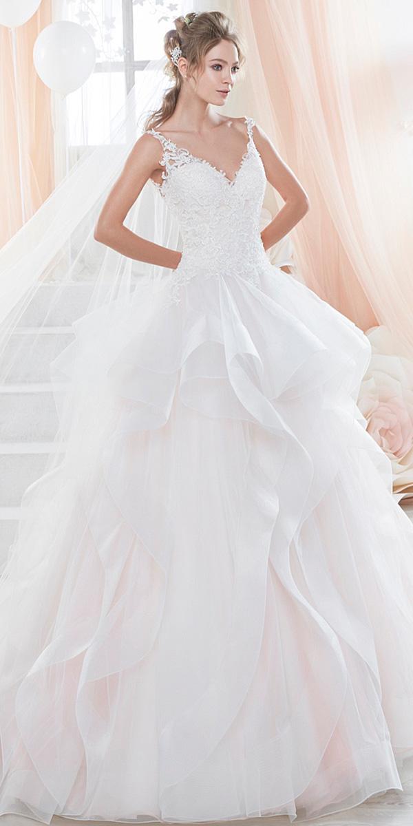 nicole spose wedding dresses ruffled skirt spaghetti straps 2018