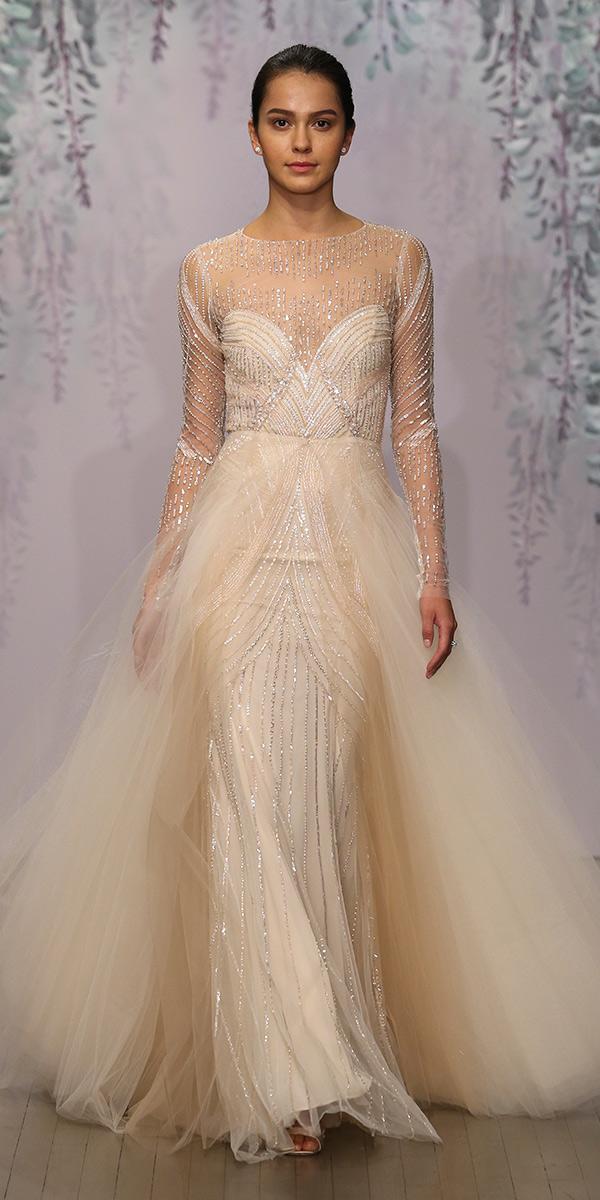 nude illusion bateau a line layered skirt long sleeve wedding dresses monique lhuillier
