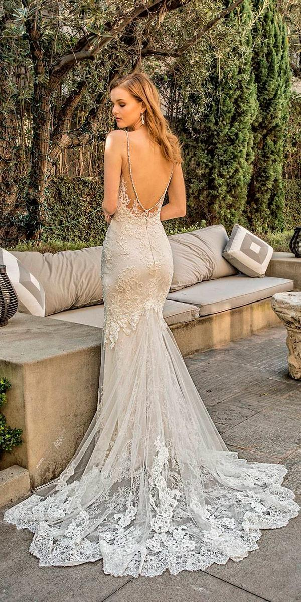 vintage lace mermaid wedding dresses with v open back and train enzoani