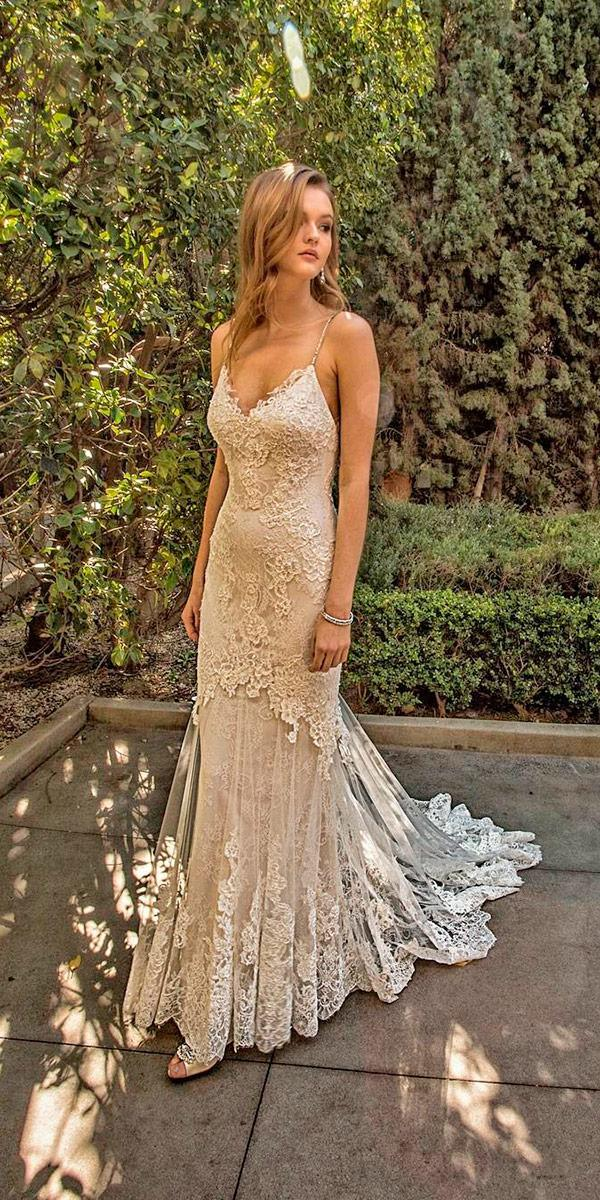 nude lace sheath with v neckline and train enzoani wedding dresses