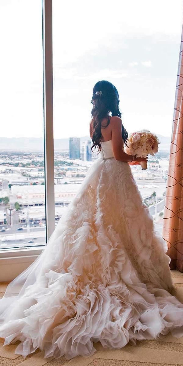 nude with ruffles skirt a line with long train monique lhuillier wedding dresses