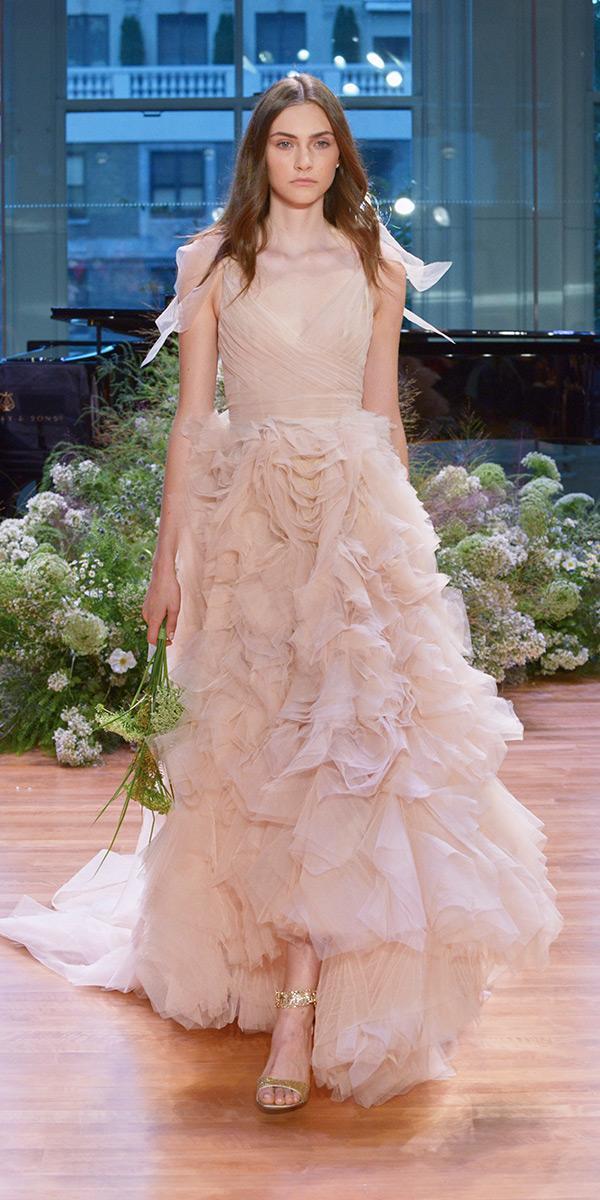 nude a line v neck wedding dresses with ruffles skirt monique lhuillier 2017