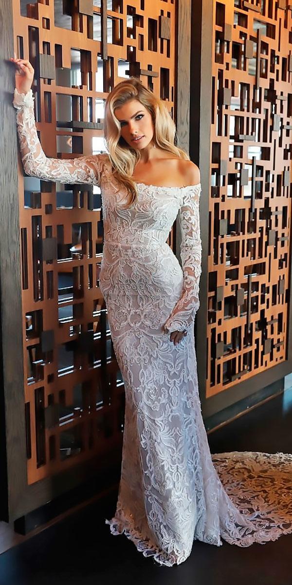 off shoulder long sleeves beaded lace sheath wedding dresses erin cole