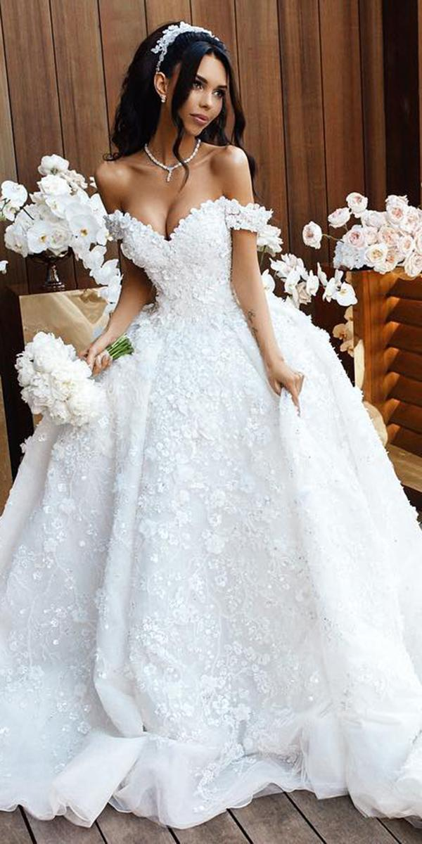 off the shoulder wedding dresses ball gown sweetheart florap appliques dmitriy plyusnin