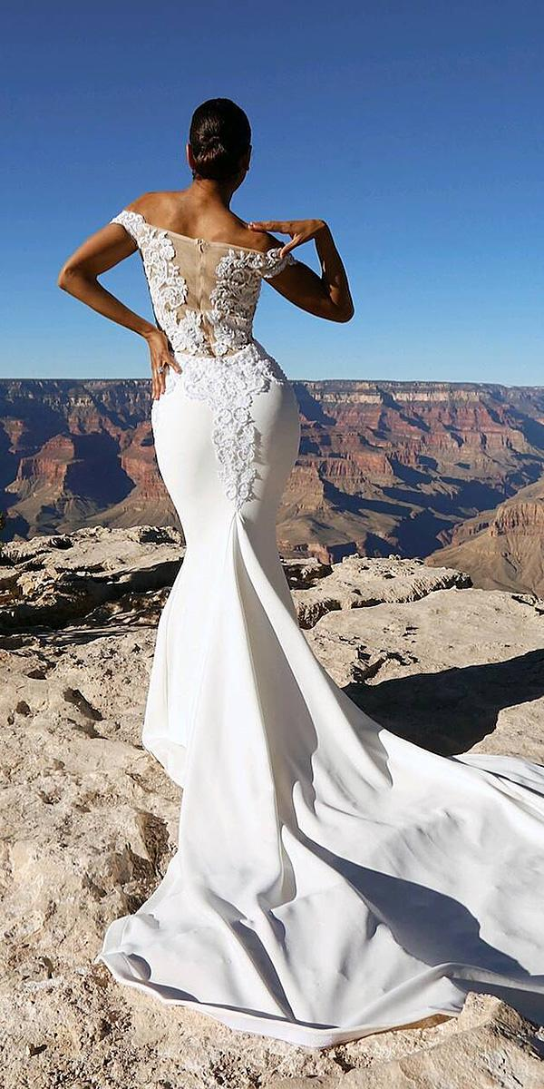 off the shoulder wedding dresses mermaid illusion back floral appliques glaud ibridal