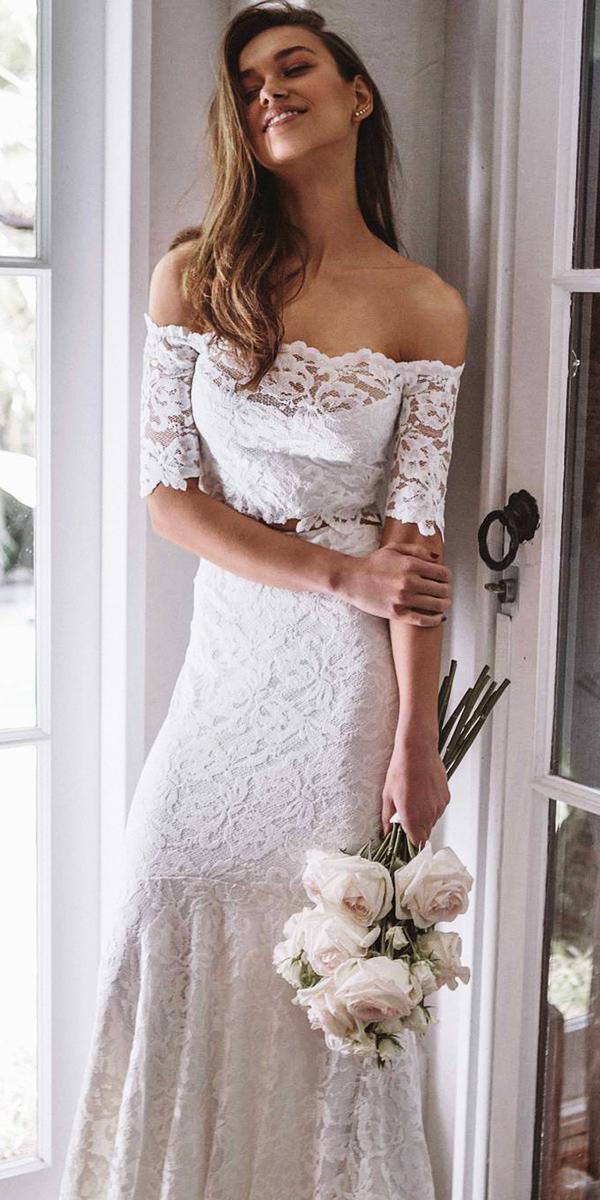 off the shoulder wedding dresses sheath lace embellishment grace loves lace