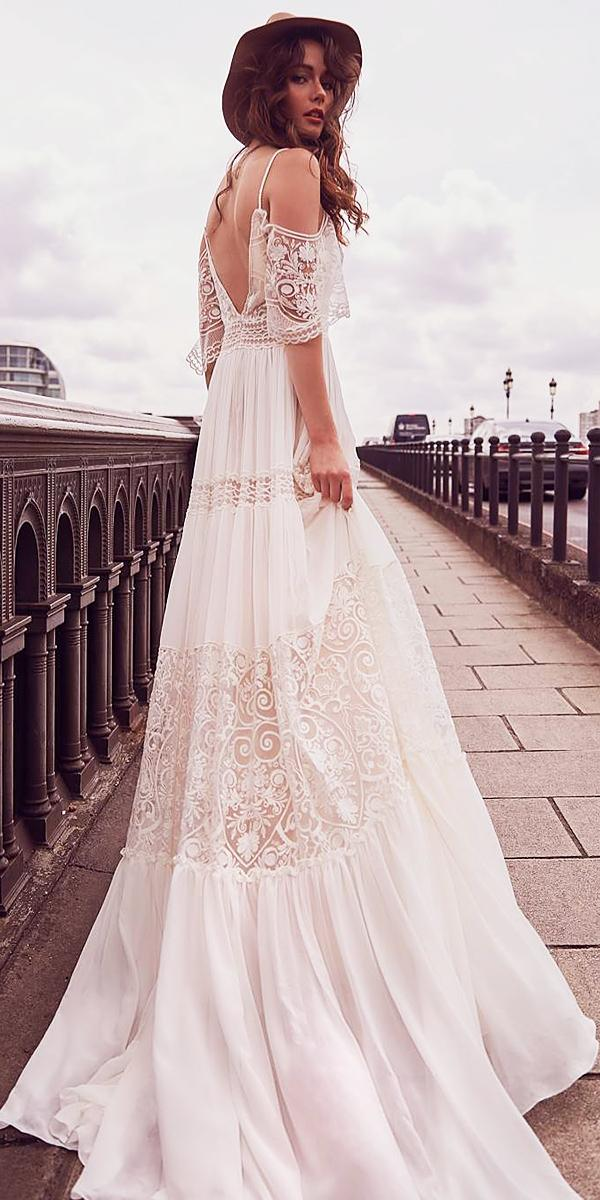 off the shoulder wedding dresses with spaghetti lace embellishment straps boho inbal raviv bridal