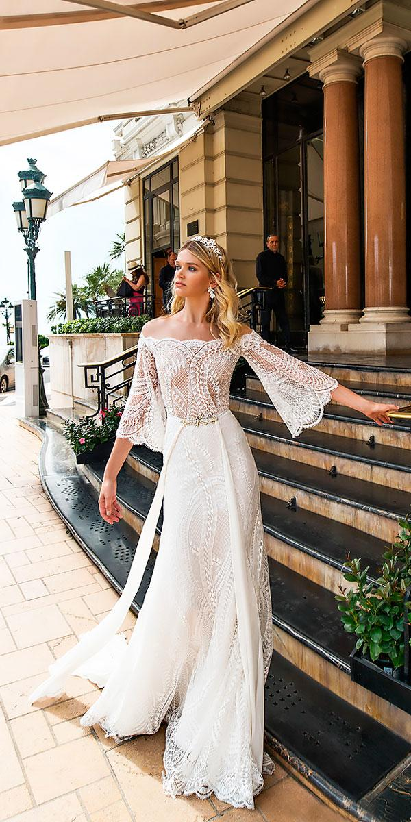 off the shoulder with sleeves lace sheath wedding dresses alessandra rinaudo
