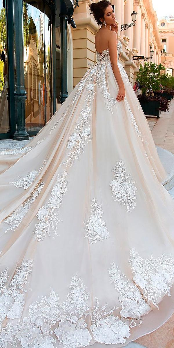 open back ball gowns wedding dresses with train crystal design