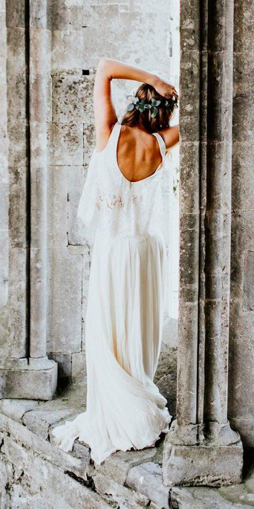 open back wedding dresses lace straight separates with straps the alex lasota