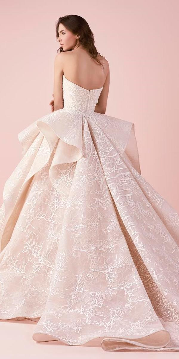 open back with ruffled skirt and train ball gowns wedding dresses saiid kobeisy