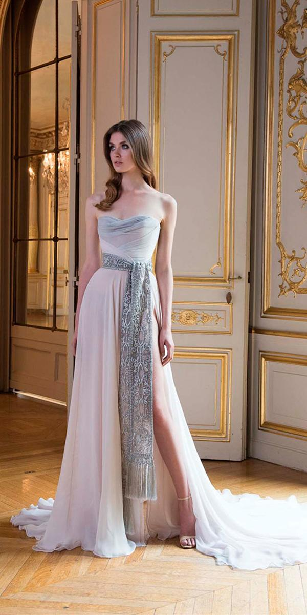 a line colorful semi sweetheart wedding dresses with train paolo sebastian