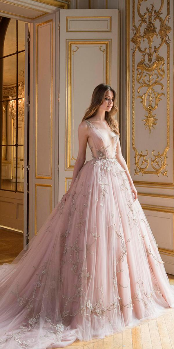 paolo sebastian wedding dresses a line color with deep neckline and 3d floral