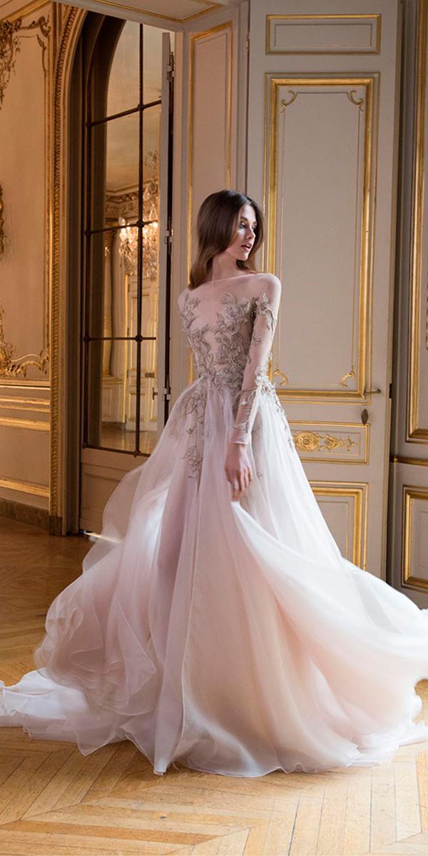 colorful a line illusion boat neckline 3d floral wedding dresses paolo sebastian