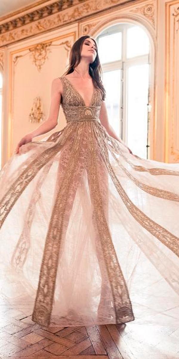 paolo sebastian wedding dresses with sparkle a line with deep v neckline and traine