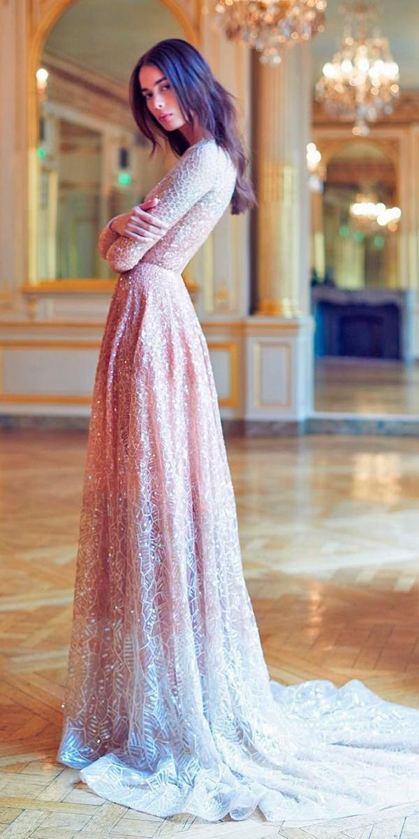 paolo sebastian wedding dresses with sparkle blush sheath with long sleeves and traine