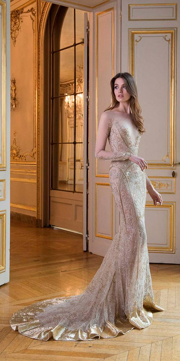 paolo sebastian wedding dresses with sparkle sheath with illusion long sleeves and traine