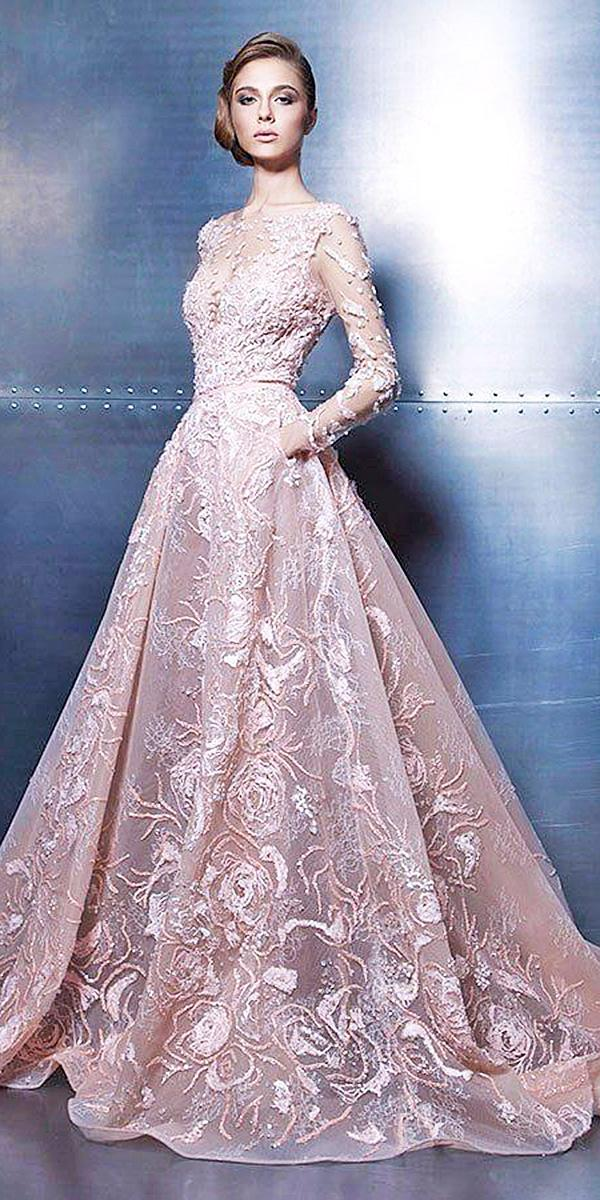 pink color wedding dresses a line with long sleeves lace floral embellishment ziad nakad