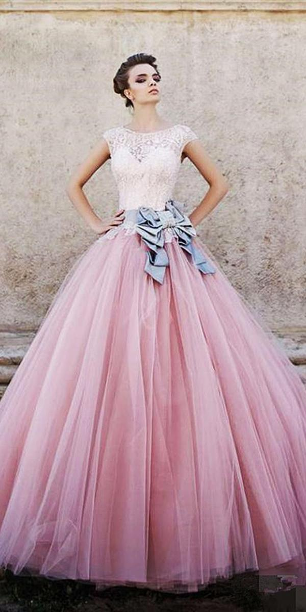 pink colored ball gown with cap sleeves lace top wedding dresses pronovias
