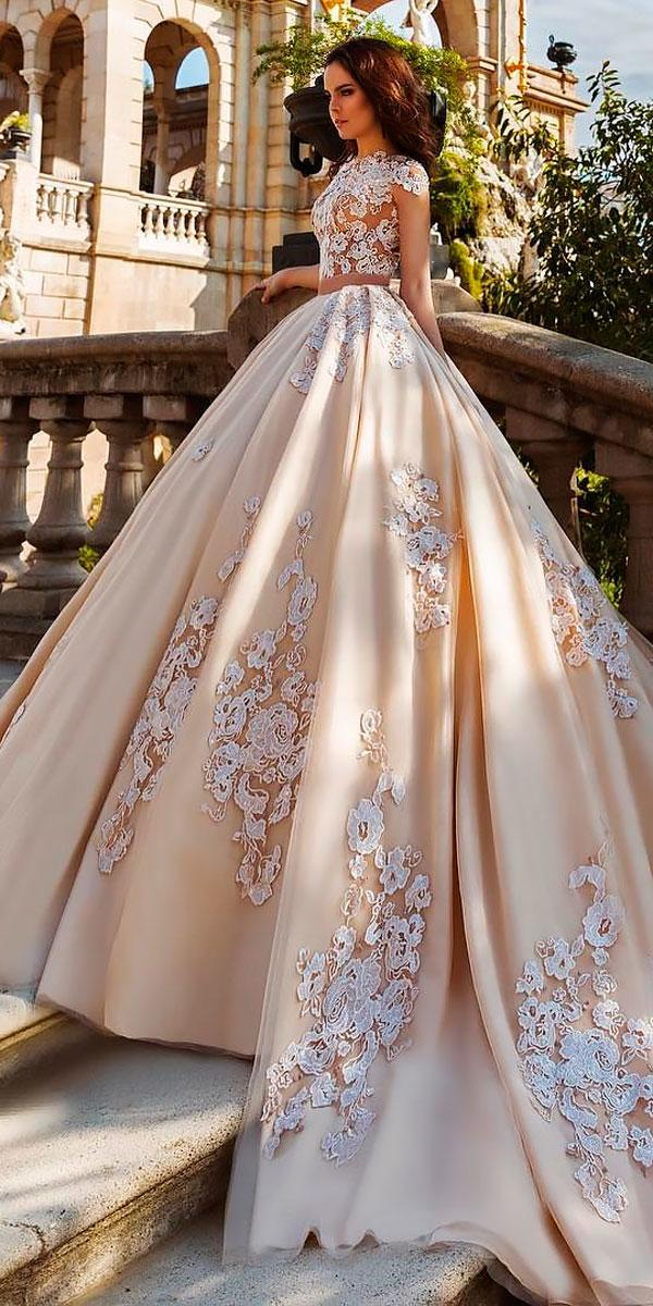princess cap sleeved blush ball gowns wedding dresses crystal designe