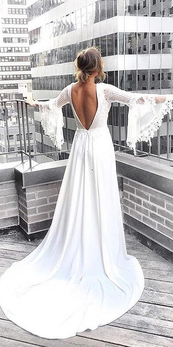 rustic wedding dresses a line with sleeves v back claire pottibone