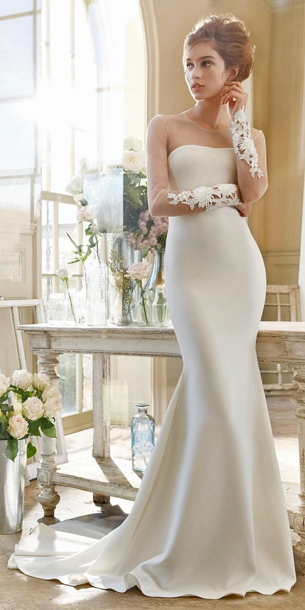 sheath with illusion semi sweetheart neckline long sleeves and train tara keely wedding dresses