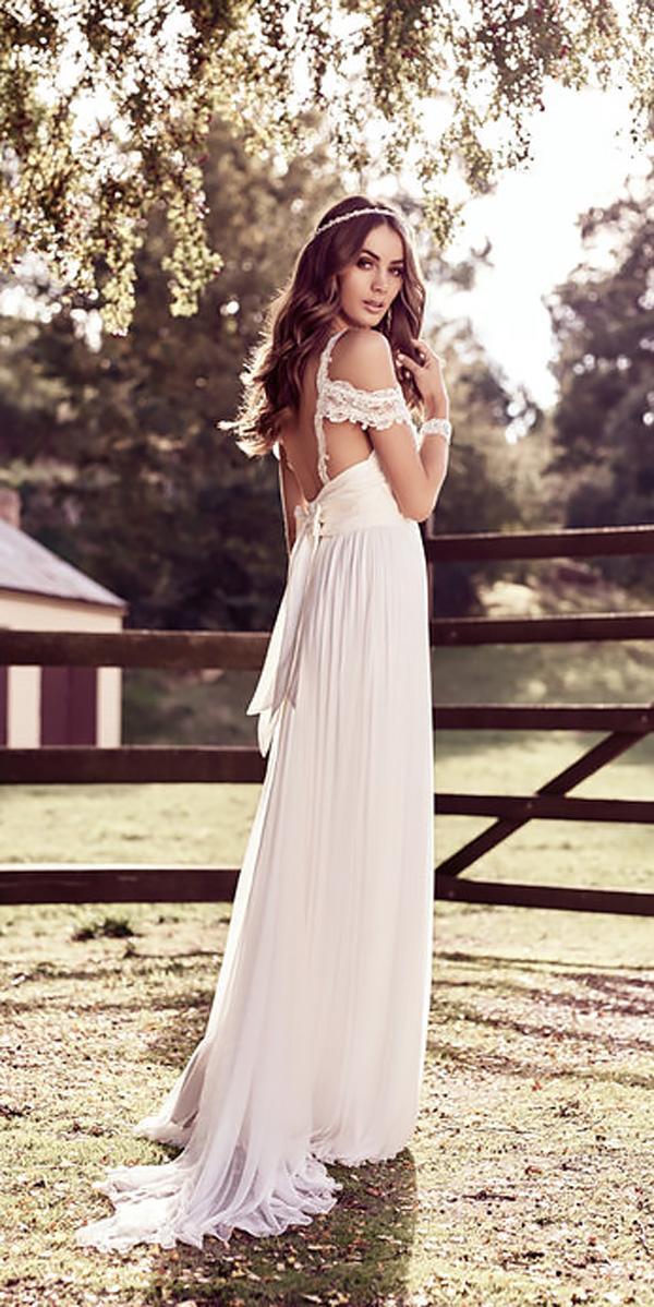 sheath boho lace off the shoulder wedding dresses anna campbell mia