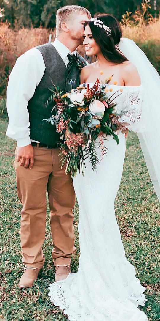 sheath boho lace- ff the shoulder wedding dresses kay bee
