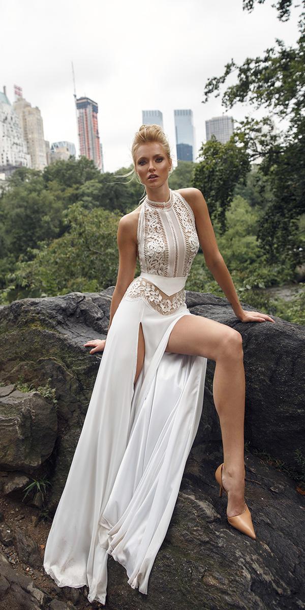 sheath halter neckline with slits lior charchy wedding dresses