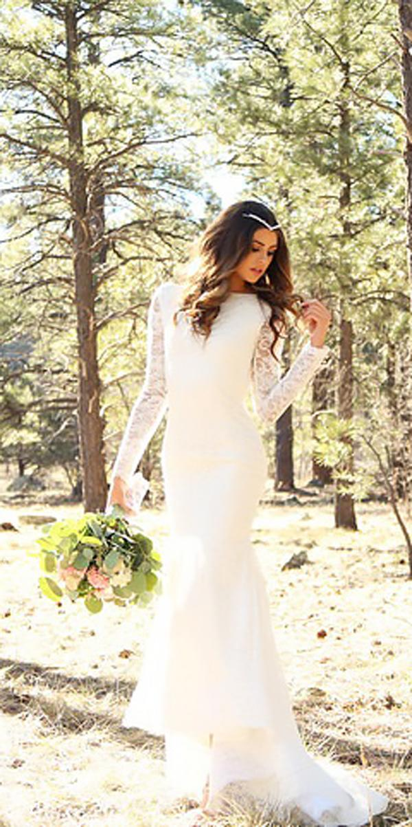 sheath lace high neck country wedding dresses with long sleeves glaudi bridal