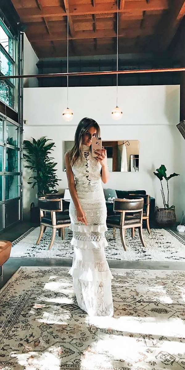 sheath lace high neckline destination wedding dresses grace loves lace