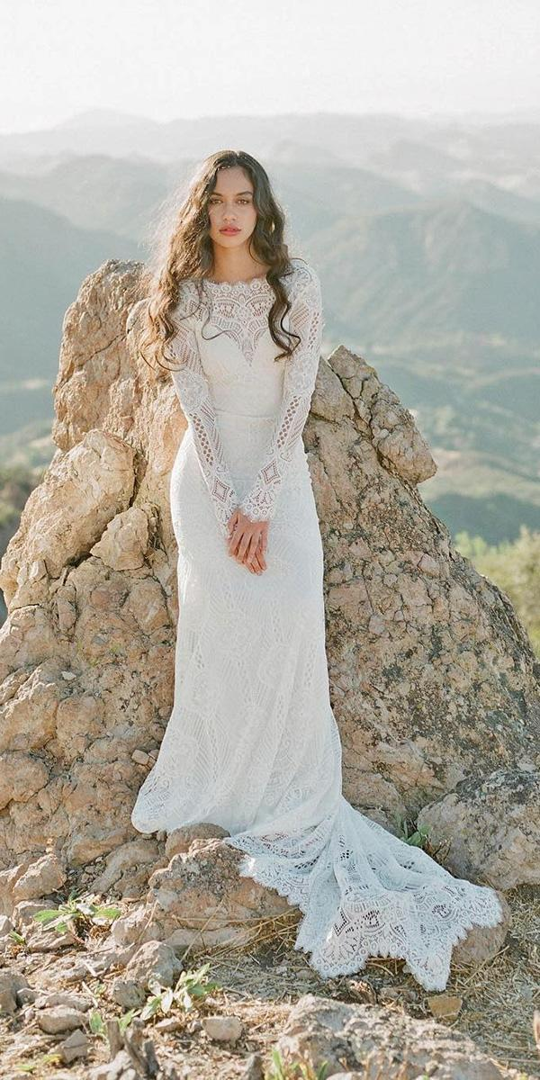 sheath lace long sleeves with train claire pettibone wedding dresses