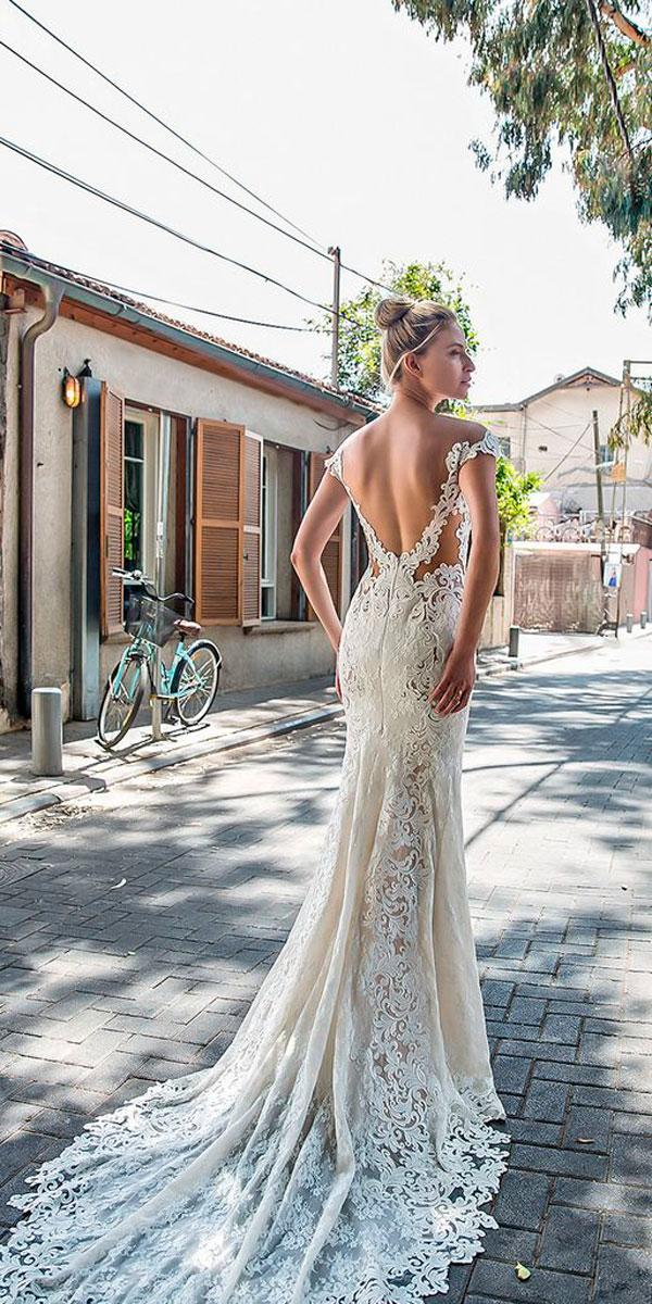 sheath lace- low back off the shoulder wedding dresses michal medina