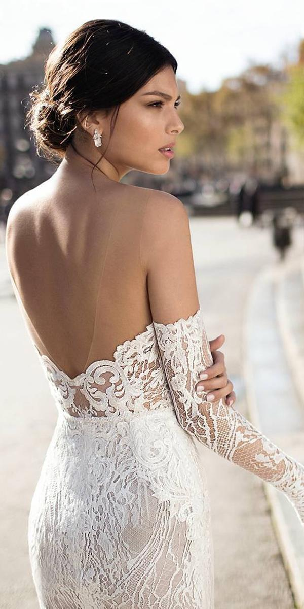 sheath lace off shoulder with long sleeves gali karten wedding dresses