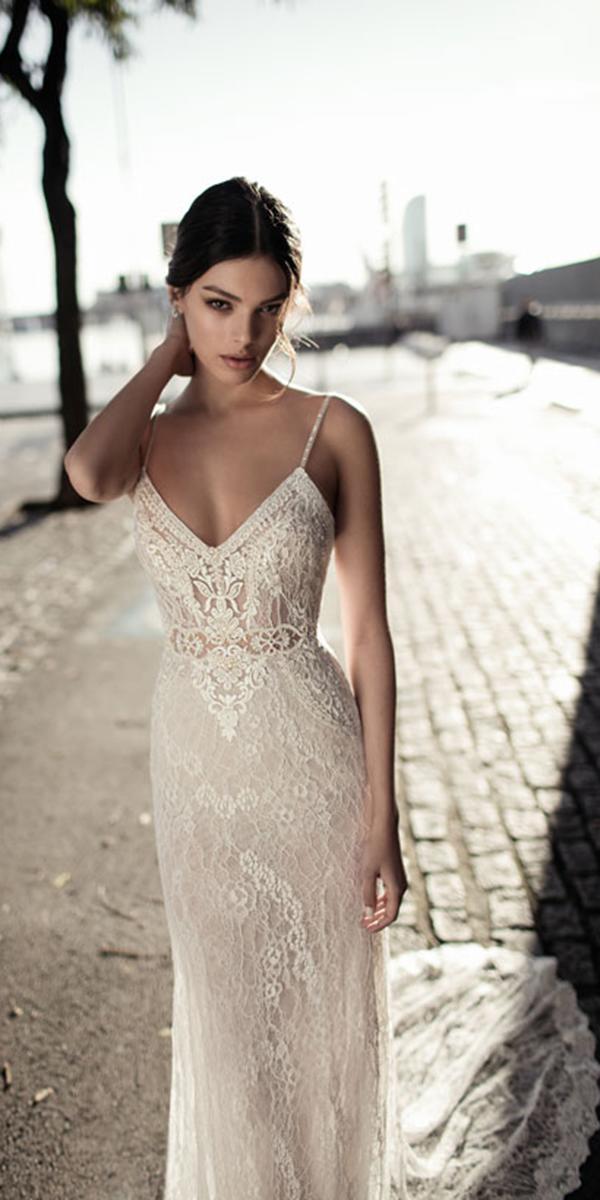 sheath lace spaghetti straps with train gali karten wedding dresses